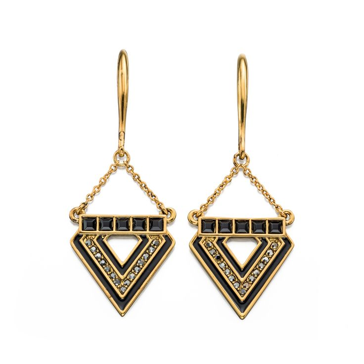 Designer Blackened Gold Crystal & Resin Triangle Earrings by Fiorelli - From the new Fiorelli Costume Autumn Winter collection, these statement earrings is all about making the ordinary extraordinary. Produced from white or yellow alloy, this piece comes packaged in a beautiful Fiorelli gift pouch: http://ow.ly/XA0Pe