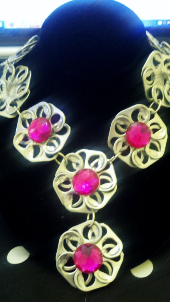 Very Cool Pink & Poptab Flower Bib Necklace by Jewellori on Etsy, $14.00