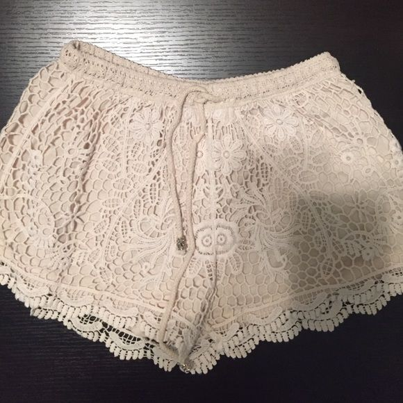 Crochet cream shorts Selling adorable drawstring cream crochet shorts! Bought these in Italy several years ago and they are SO CUTE! Shorts