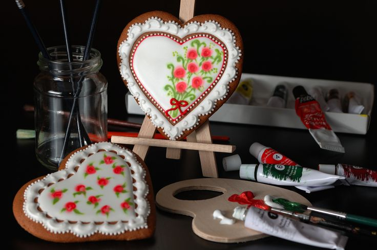 "My very first attempt to icing 'wet-on-wet' technique. Of course that I used food coloring, not the acrylic paint from the photo arrangement :) Find more iced gingerbreads on my blog ""Koronkowe Pierniczki"": www.facebook.com/koronkowe.pierniczki/"