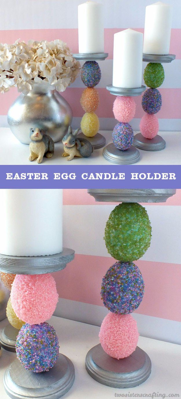 DIY Easter Decorations - Decor Ideas for the Home and Table -  Easter Egg Candle Holder - Cute Easter Wreaths, Cheap and Easy Dollar Store Crafts for Kids. Vintage and Rustic Centerpieces and Mantel Decorations. http://diyjoy.com/diy-easter-decorations