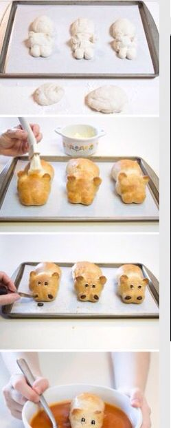 Cute hippo breads to go with soup!