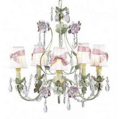 THE WELL APPOINTED HOUSE - Pink and Green Five Arm Flower Garden Chandelier with Shades