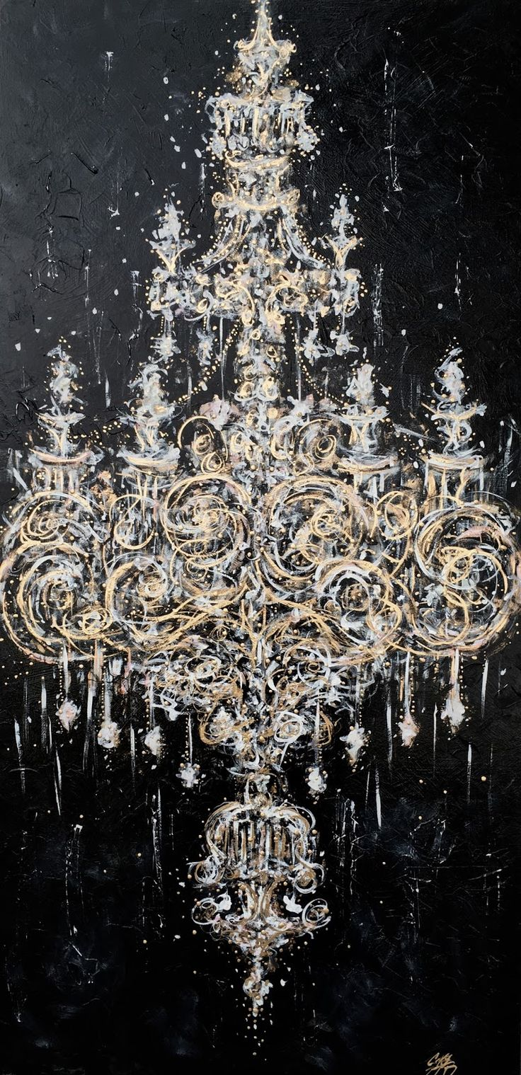 """TITLE:  """"MIDNIGHT CHANDELIER""""  PAINTING BY ZSAZSA BELLAGIO"""