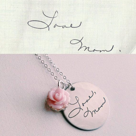 Custom Handwriting Necklace with your own writing or artwork by Designed To Shine, $65.00. Sweet memorial gift.