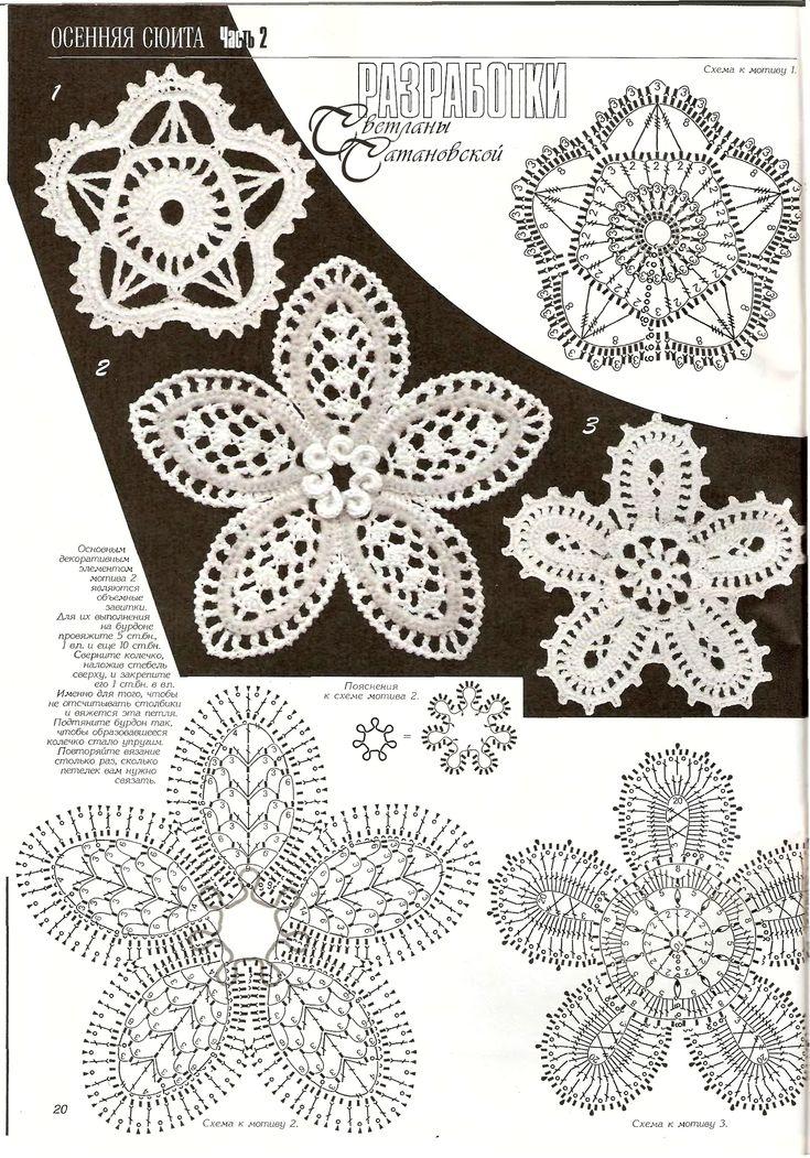 Crochet flower diagram - Мотивы ирландского кружева » Клубка.Нет - Все о вязании крючком