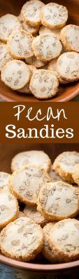 """Pecan Sandies ~ Classic shortbread cookies filled with toasted pecans and vanilla beans with a crisp coating of coarse sugar make these a wonderful and delicious """"perfect anytime cookie.""""  www.savingdessert.com"""