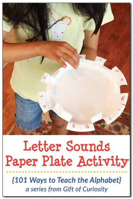 This simple-to-prepare activity uses a paper plate to teach letter sounds, and works on kids' fine motor skills at the same time!    Gift of Curiosity