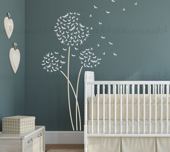 Dandelion Wall Decal Dragonfly Dandelion Wall by InAnInstantArt