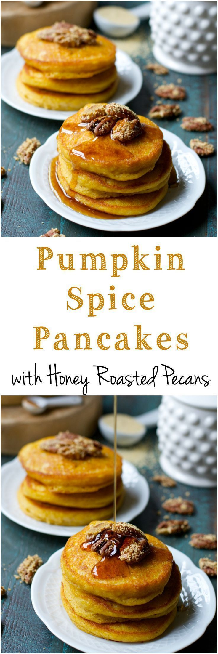 Ultra fluffy Pumpkin Spice Pancakes are topped with Honey Roasted Pecans and…