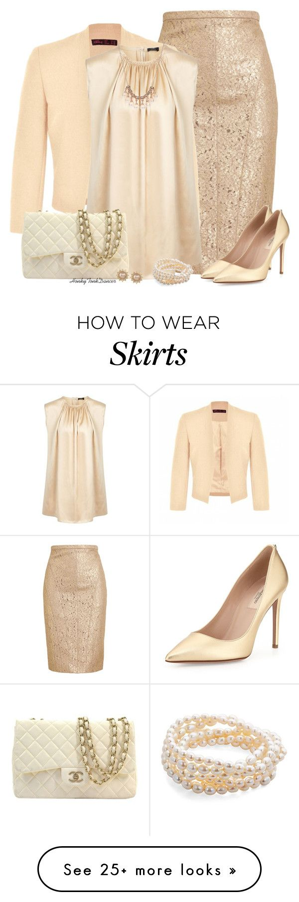 """Gold Lace Pencil Skirt"" by honkytonkdancer on Polyvore featuring N°21, Ally Fashion, Joseph, Valentino, Chanel, Carolee, Catherine Canino Jewelry, Chanelbag, laceskirt and goldandcream"