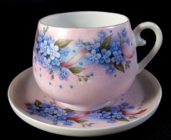 Lithopane Geisha Girl Violet Cup & Saucer. Even though they are not forget me nots they do like them.
