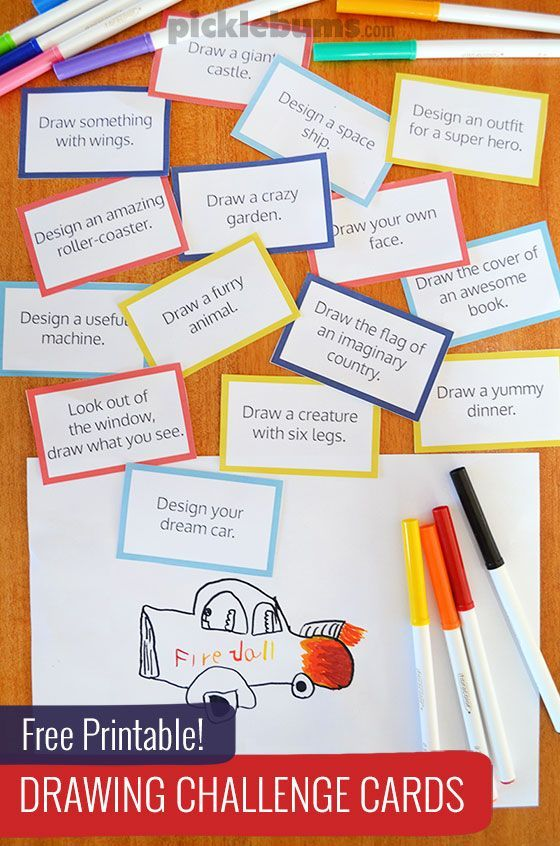 Free printable drawing challenge cards - play this easy and fun drawing game.