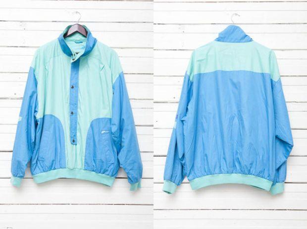 1980s true vintage light blue mint green zip up pullover windbreaker jacket men size xxl very - Light blue and mint green ...