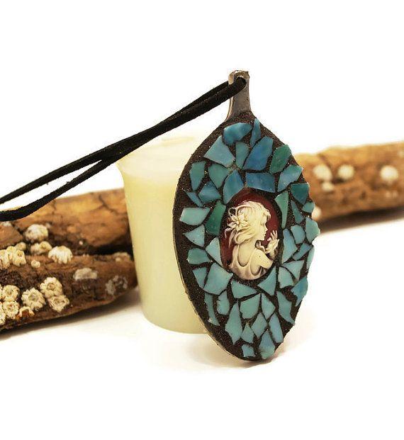 Victorian Spoon Jewelry Mosaic Jewelry Art Pendant Girl