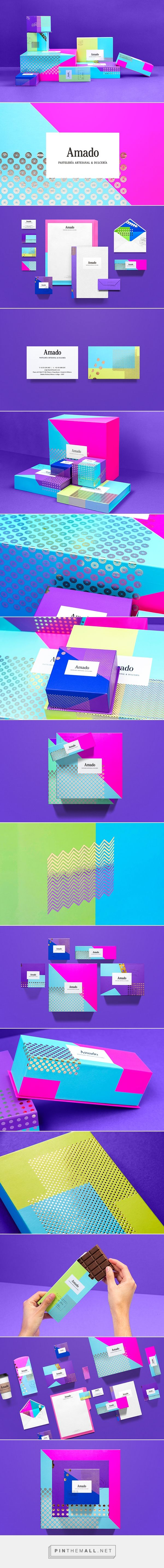 My Spanish is a little rusty, but I believe this in a corporate identity #stationary suite for an artisan bakery and chocolatier. I love the bright, fun colors. Amado by Hyatt on Behance