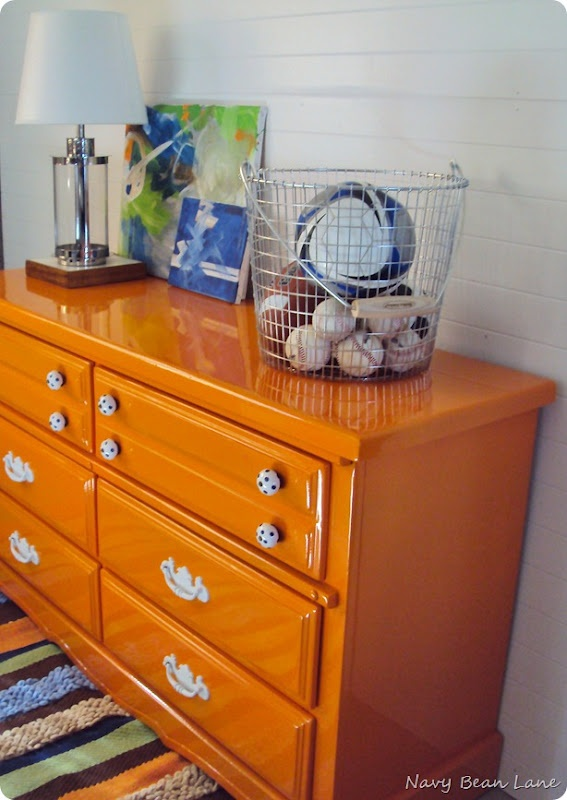 Boys orange dresser redo at Navy Bean Lane - maybe grey