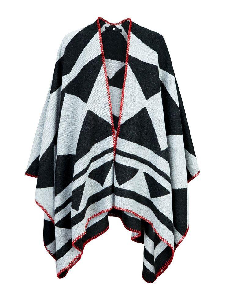 V by Very Aztec Blanket Stitch Cape - Monochrome This Aztec blanket stitch…