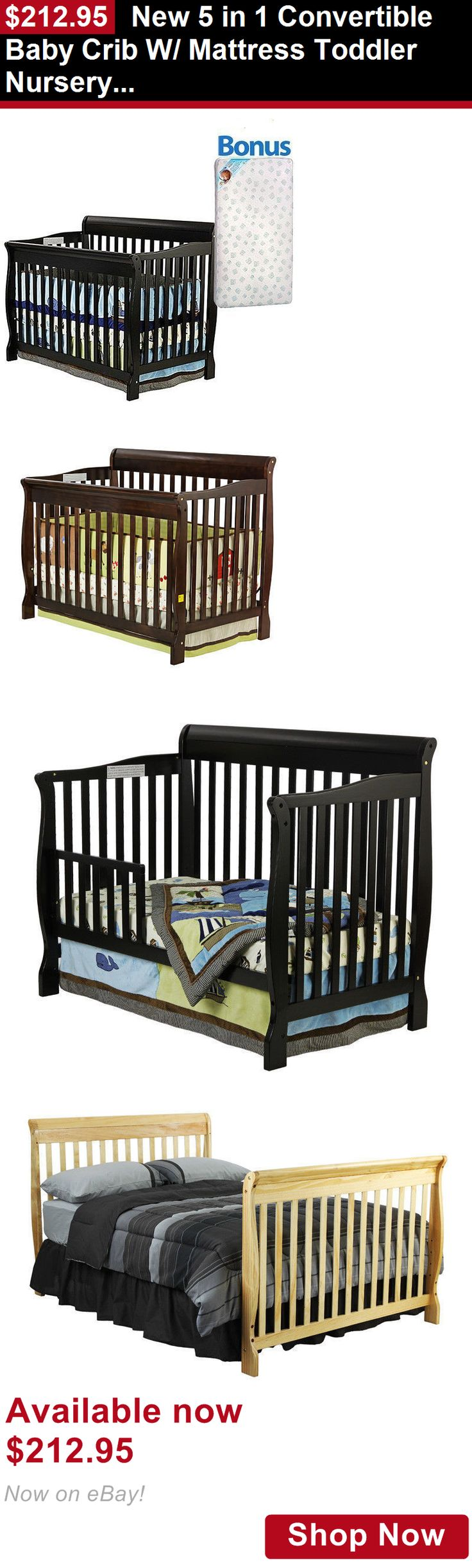 Amish crib for sale - Cribs New 5 In 1 Convertible Baby Crib W Mattress Toddler Nursery Bed Changer