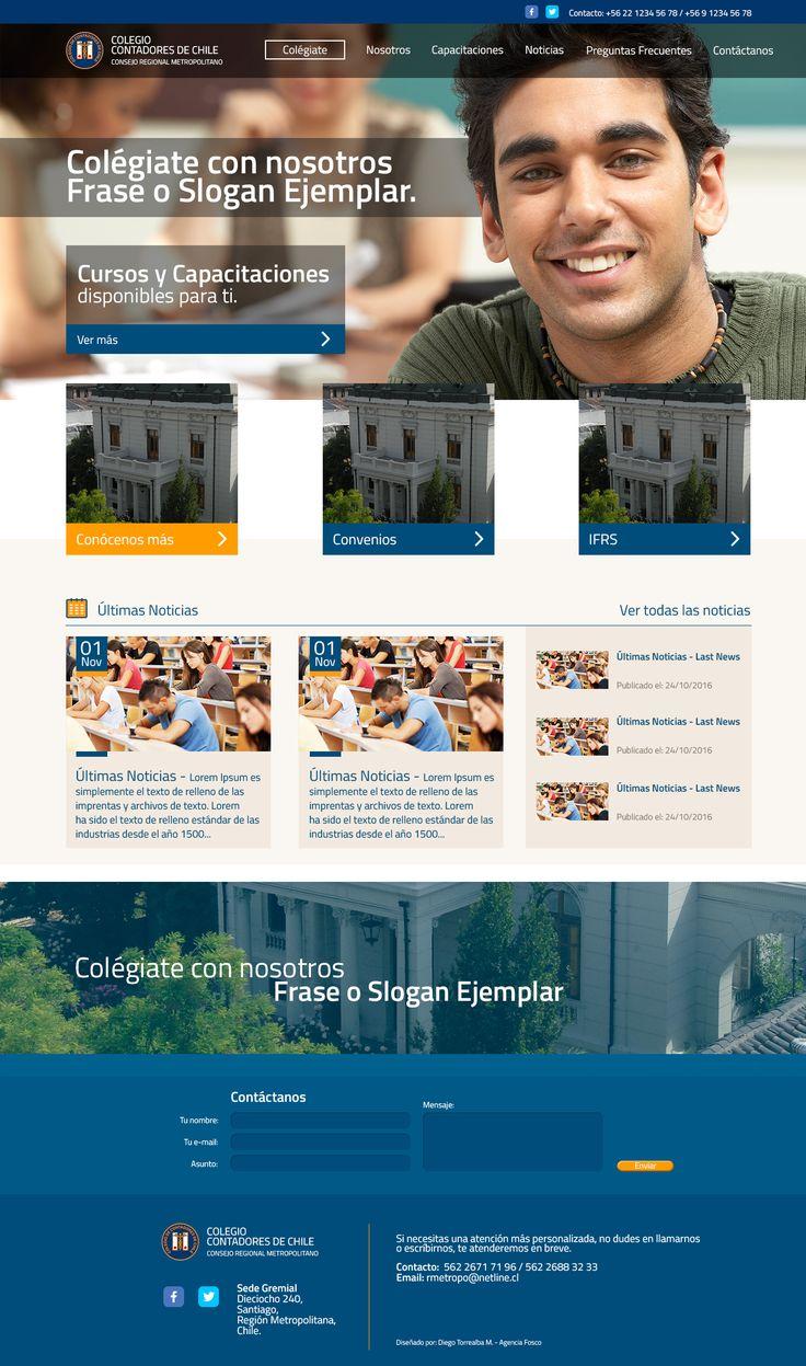 Website para Colegio de Contadores de Chile - Región Metropolitana de Santiago. (disponible desde enero del 2017)
