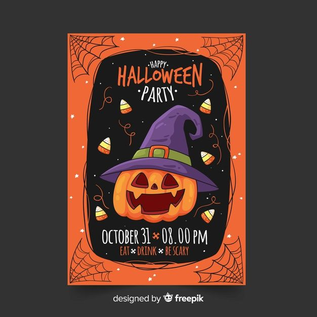 Halloween 2020 Poster Drawn Download Hand Drawn Halloween Party Flyer Template With Pumpkin
