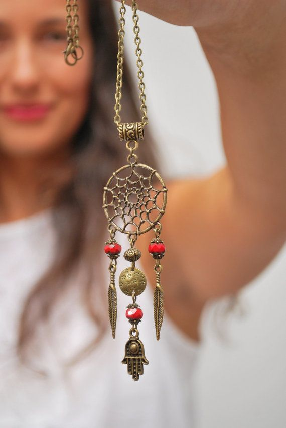 Dream Catcher necklace, hippie festival necklace, hamsa hand necklace, hippie necklace, namaste jewelry, good luck necklace. Dreamcatcher.