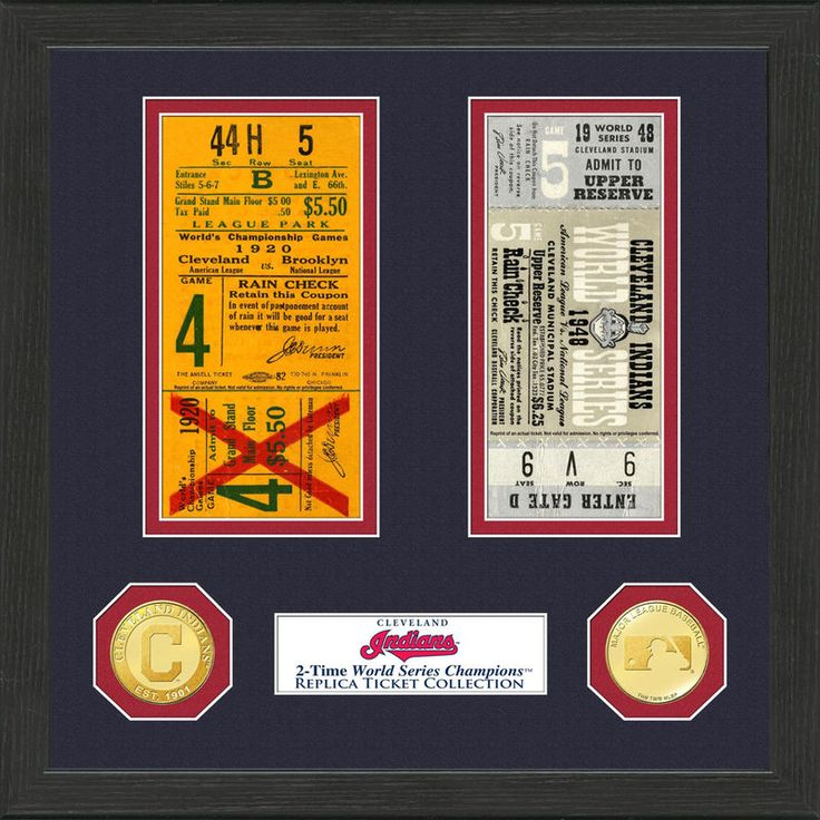 """Cleveland Indians Highland Mint 13"""" x 13"""" World Series Ticket Collection"""