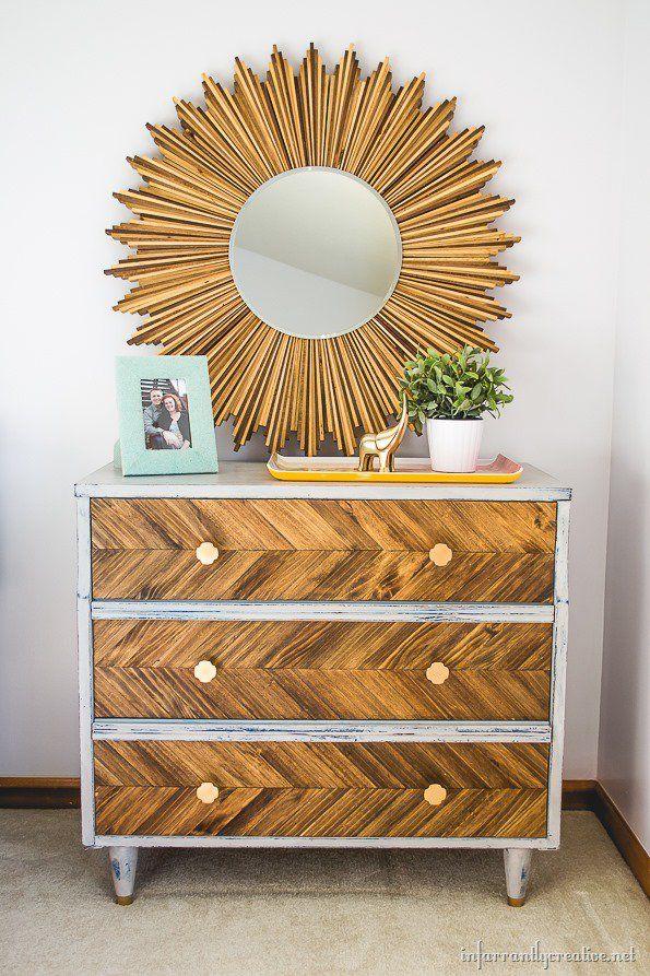 Superior DIY Herringbone Pattern On Dresser And Wood Shim Startburst Mirror