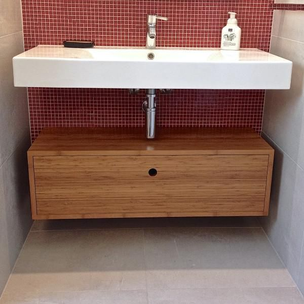 Bamboo wall hung vanity with open shelf and drawer