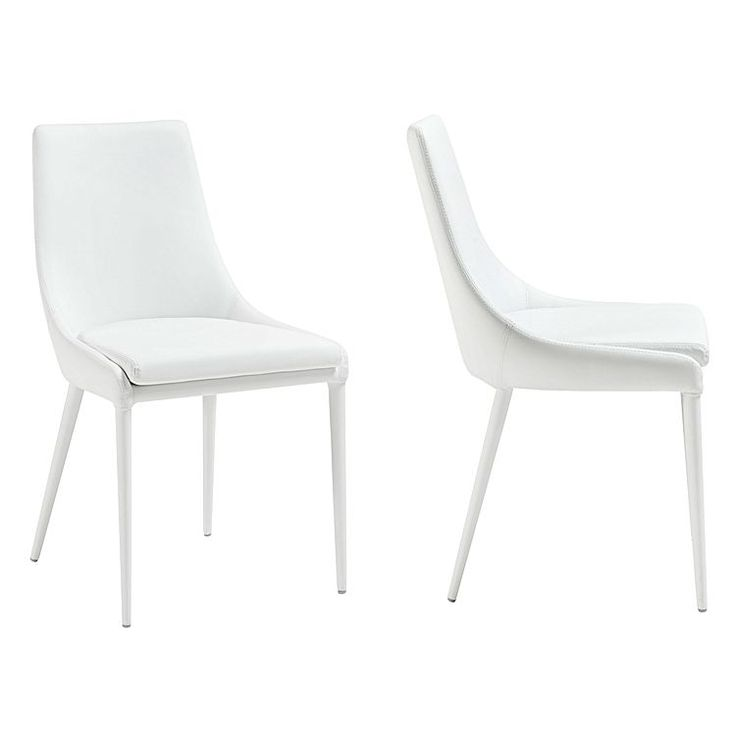 Warm your space with the quality upholstery of the Benito PU Dining Chair (Set of 2) from Vida & Co..