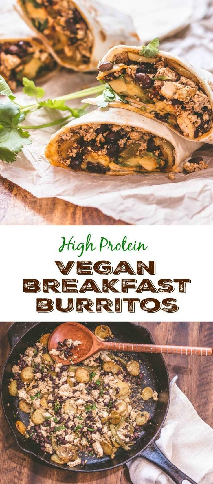 High Protein Vegan Breakfast Burritos - healthy and nutritious with nopales, black beans, potatoes, tofu, red chile sauce, and avocado! Nopalitos | Breakfast burritos | Vegan recipes