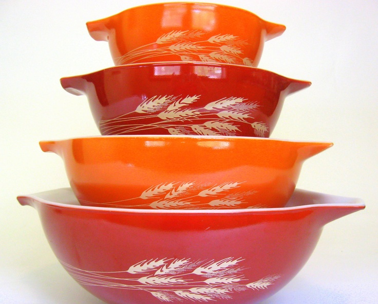"4 Pc Vintage Pyrex Mixing Bowl Set, ""Autumn Harvest"" Cinderella Bowls 444, 443, 442, 441, 1979 Orange & Red Burnt Sienna"