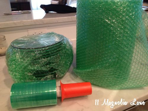 "Plastic Shrink wrap from home depot.  From ""Moving Tips & Tricks from Military Spouses"""
