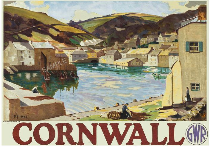 A2  Reprint Vintage GWR Polperro Harbour Cornwall Railway Poster A3