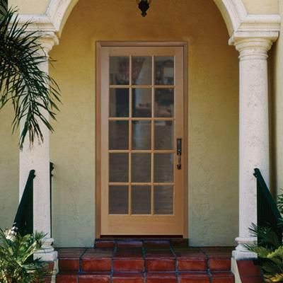 Masonite 30 in x 80 in 15 lite unfinished fir front door for Masonite exterior doors