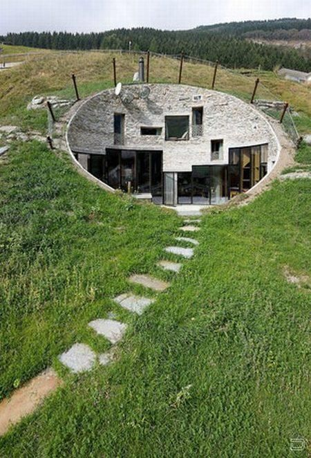 Underground house with multiple doors