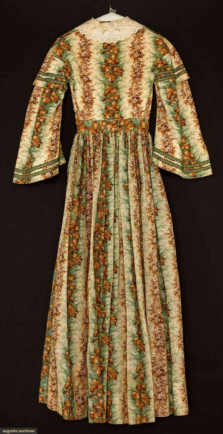 Day Dress (image 2) | 1850s | printed challis | Augusta Auctions | May 11, 2016/Lot 2014