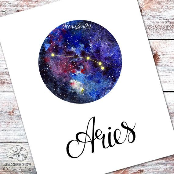 Zodiac constellation - Aries  Hand drawn Horoscope wall Art decor on Watercolor galaxy deep outer space circle with stars and nebula. Printable realistic watercolor painting with lettering