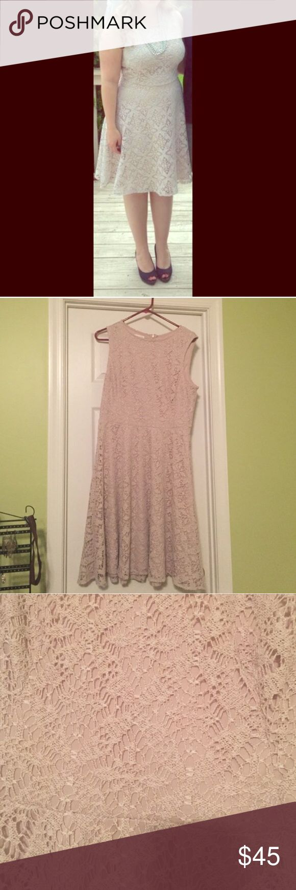 London Times tan lace dress Beautiful dress in perfect condition! Only worn once for my bridal shower. London Times Dresses