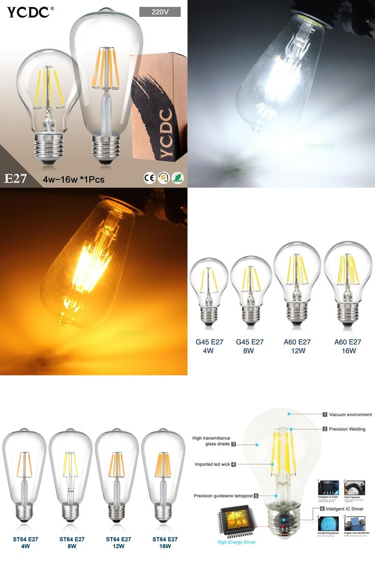 [Visit to Buy] TSLEEN Cheap LED Lamp Lampada E27 AC 220V Retro Old Edison G45/ A60/ ST64 Globe Filament Light Bulb 4W 8W 12W 16W Decor #Advertisement