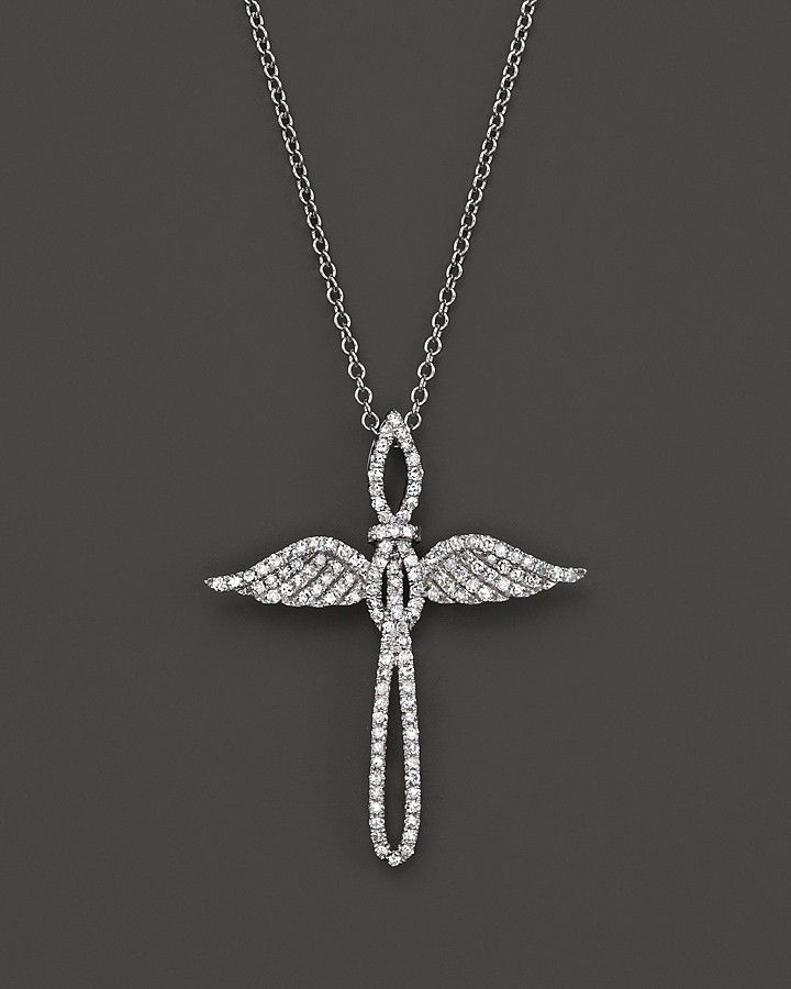 Diamond Cross Pendant Necklace in 14K White Gold, .45 ct. t.w.