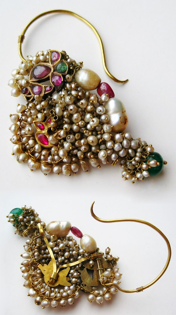 India ~ Rajastan | Vintage nath (nose ring); 22k gold, pearls, ruby | 710$