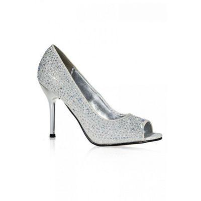 Quiz Silver Diamante Peep Toe Courts- at Debenhams.com