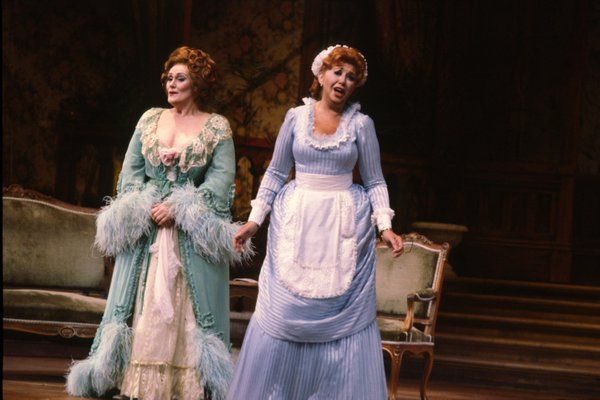 Joan Sutherland on stage with Beverly Sills in San Diego Operas 1980 production of Die Fledermaus.