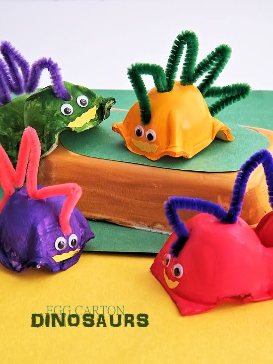 How to make Fun and Colorful Egg Carton Dinosaurs, a great kids craft!