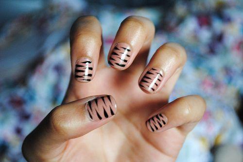 : Tigers Nails, Nude Nails, Nails Art, Nails Design, Black Nails, Nails Ideas, Zebras Nails, Animal Prints, Tigers Stripes