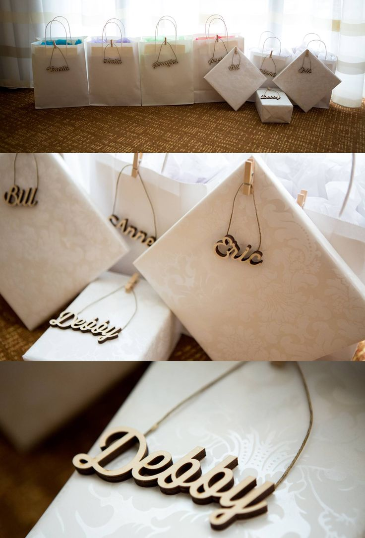 Ornament name tags for wedding party gifts. Wooden names from Craftcuts.com, twine & mini clothes pins from Michael's.