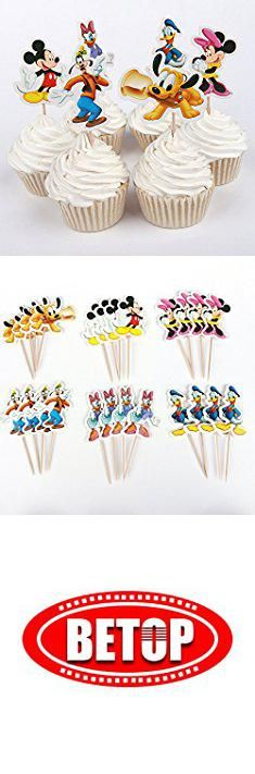 Mickey Mouse Cupcake Decorations. BETOP HOUSE Set of 24 Pieces Cute Round Minnie Mickey Mouse Dessert Muffin Cupcake Toppers for Picnic Wedding Baby Shower Birthday Party Server.  #mickey #mouse #cupcake #decorations #mickeymouse #mousecupcake #cupcakedecorations