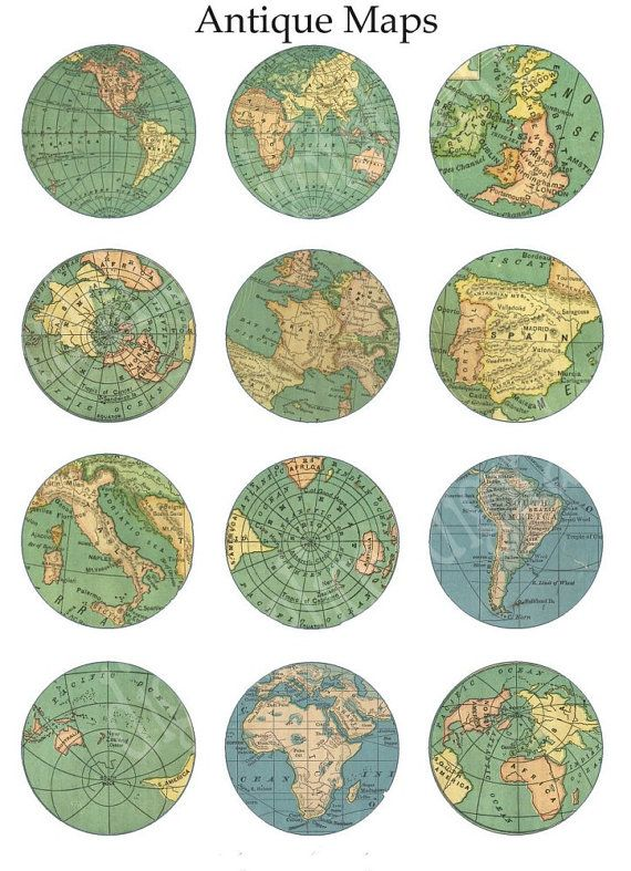 VINTAGE MAP Craft Circles Instant Download by DigitalAlice