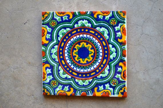 "124 Mexican Talavera Tiles handmade, Hand painted 4 ""X 4"""